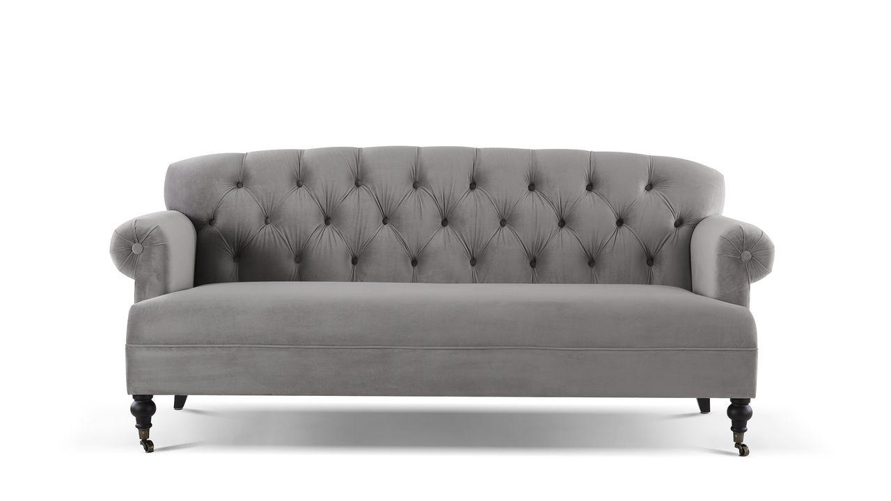 - Mackenzie Tufted Rolled Arm Sofa, Opal Grey Rolled Arm Sofa