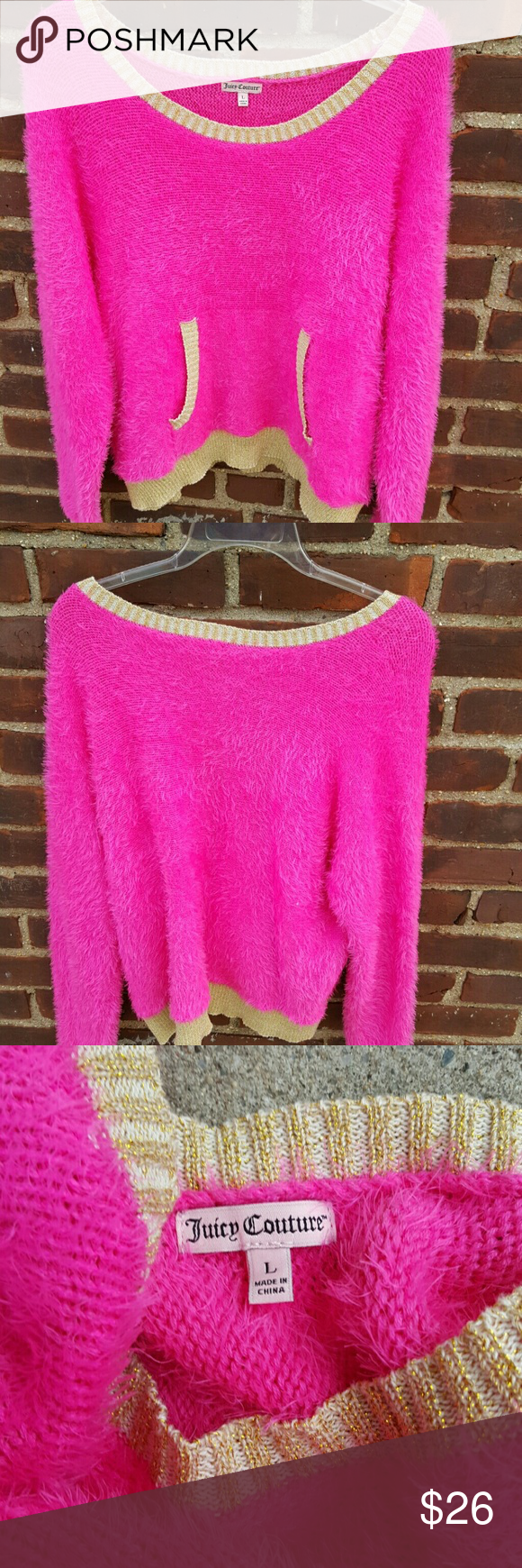 Fab Juicy Couture,sweater L Cutest darn sweater ever. Will definitely fit Loosely as it is 23 inches under the arms. This is meant to fit in the more loose fashion Juicy Couture Sweaters Crew & Scoop Necks
