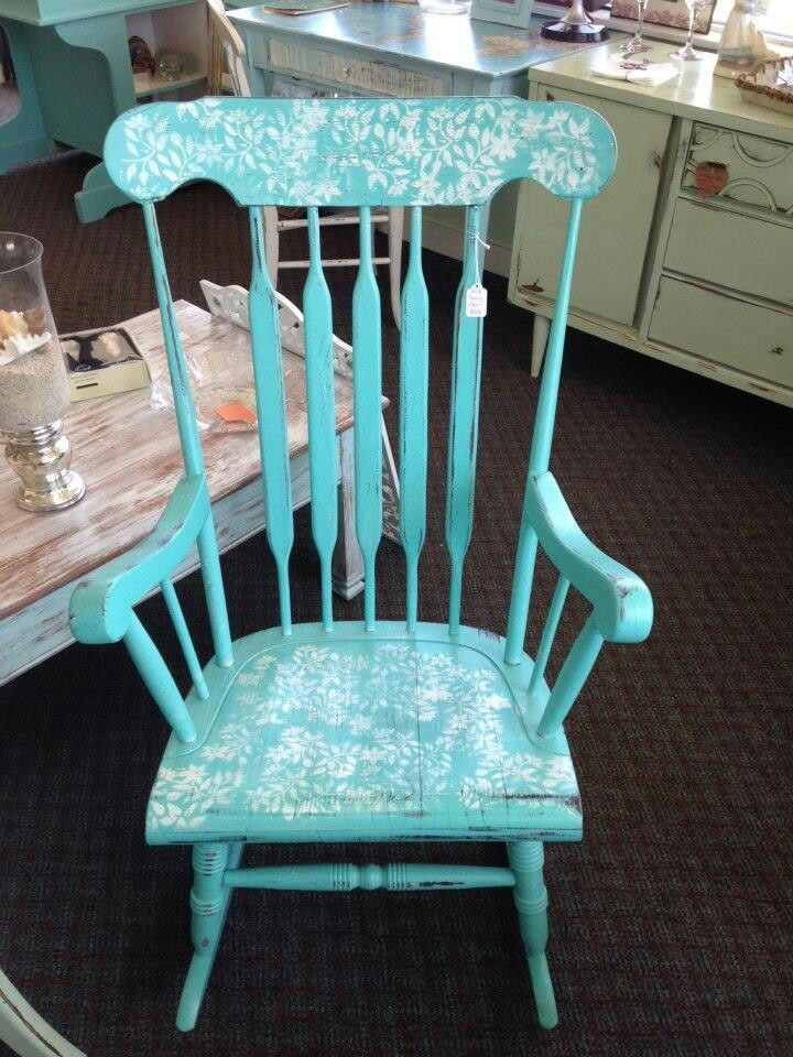 Shabby Chic Rocking Chair With Stencil Design Shabby