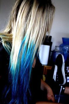 Dirty Blonde Hair With Dyed Blue Tips Google Search Hair Hair