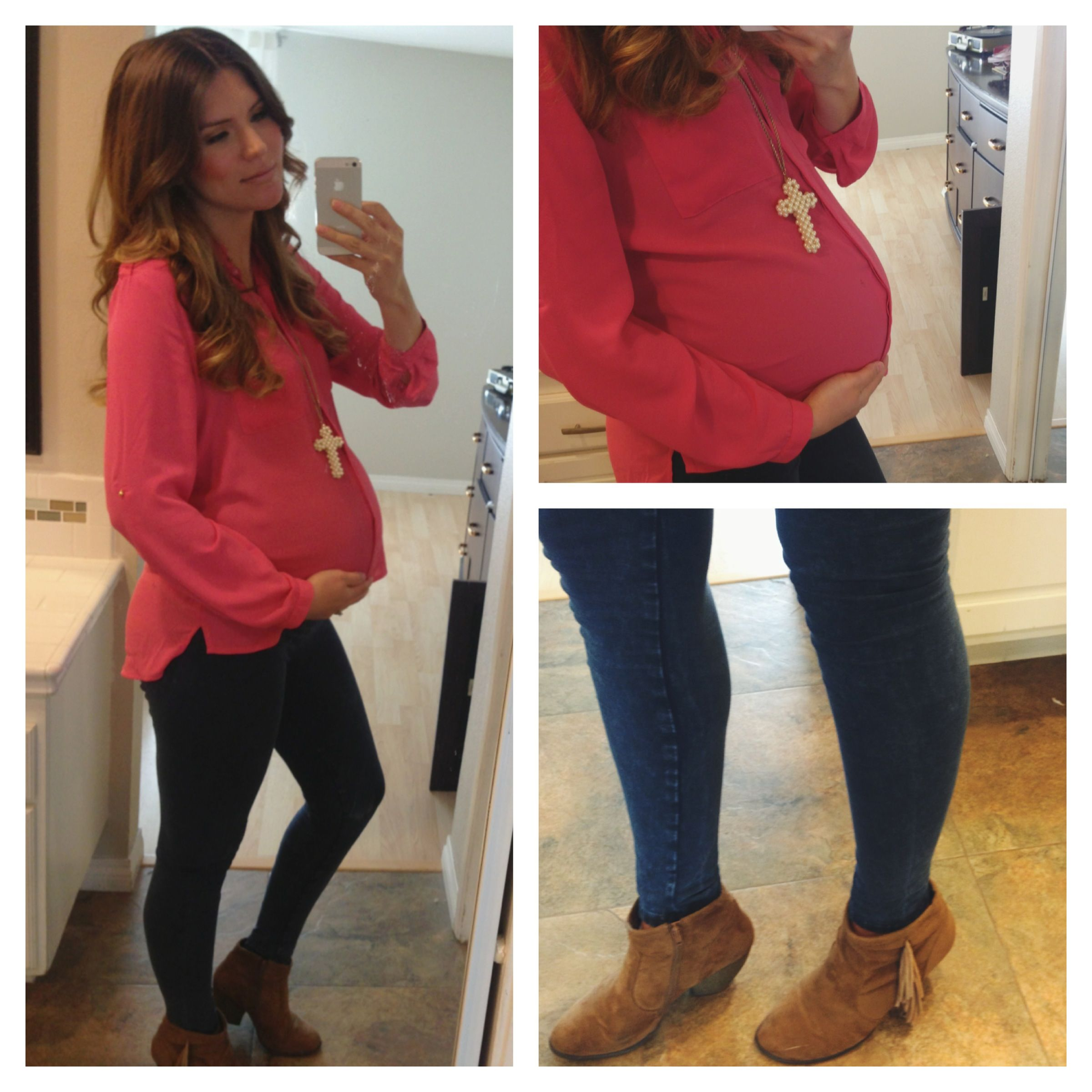 Maternity Fashion::Pink Blouse (H&M)::Blue Jeggings (Cotton On ...