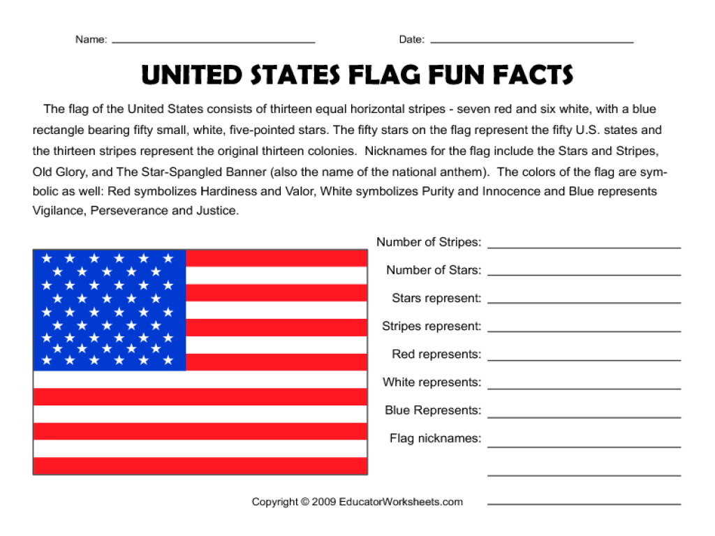 United States Flag Fun Facts Worksheet For 3rd
