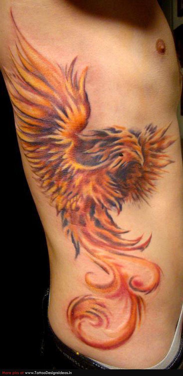 Phoenix tattoo for men - Tattoo Design Of Red Fiery Phoenix Tattoos For Men S Rib