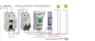 Esquemas el ctricos programador digital y reloj horario for Programador electrico digital