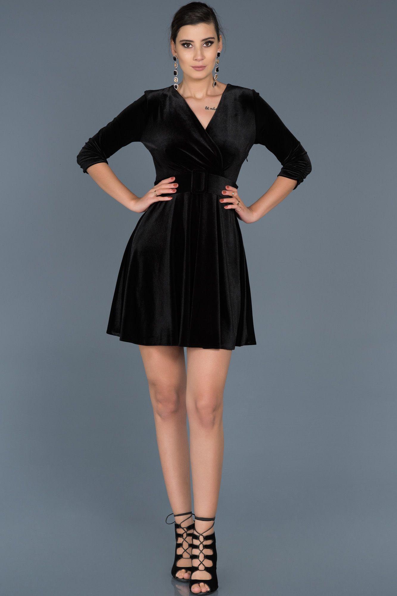 Siyah V Yaka Kemerli Kadife Elbise Abk295 Elbise Kisa Elbiseler The Dress