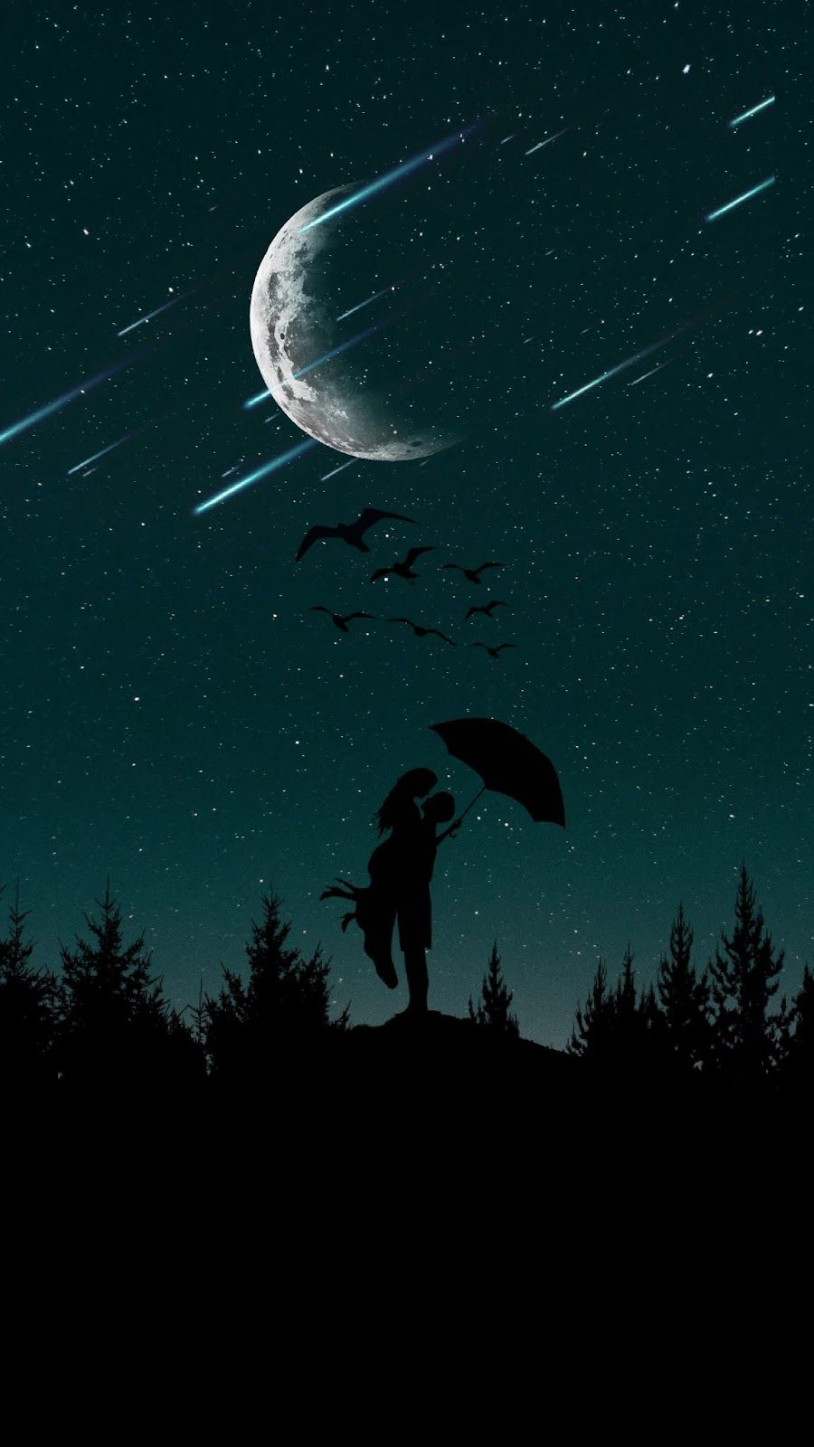Couple Silhouettes Starry Sky Night Sky Wallpaper Silhouette Painting Love Wallpaper