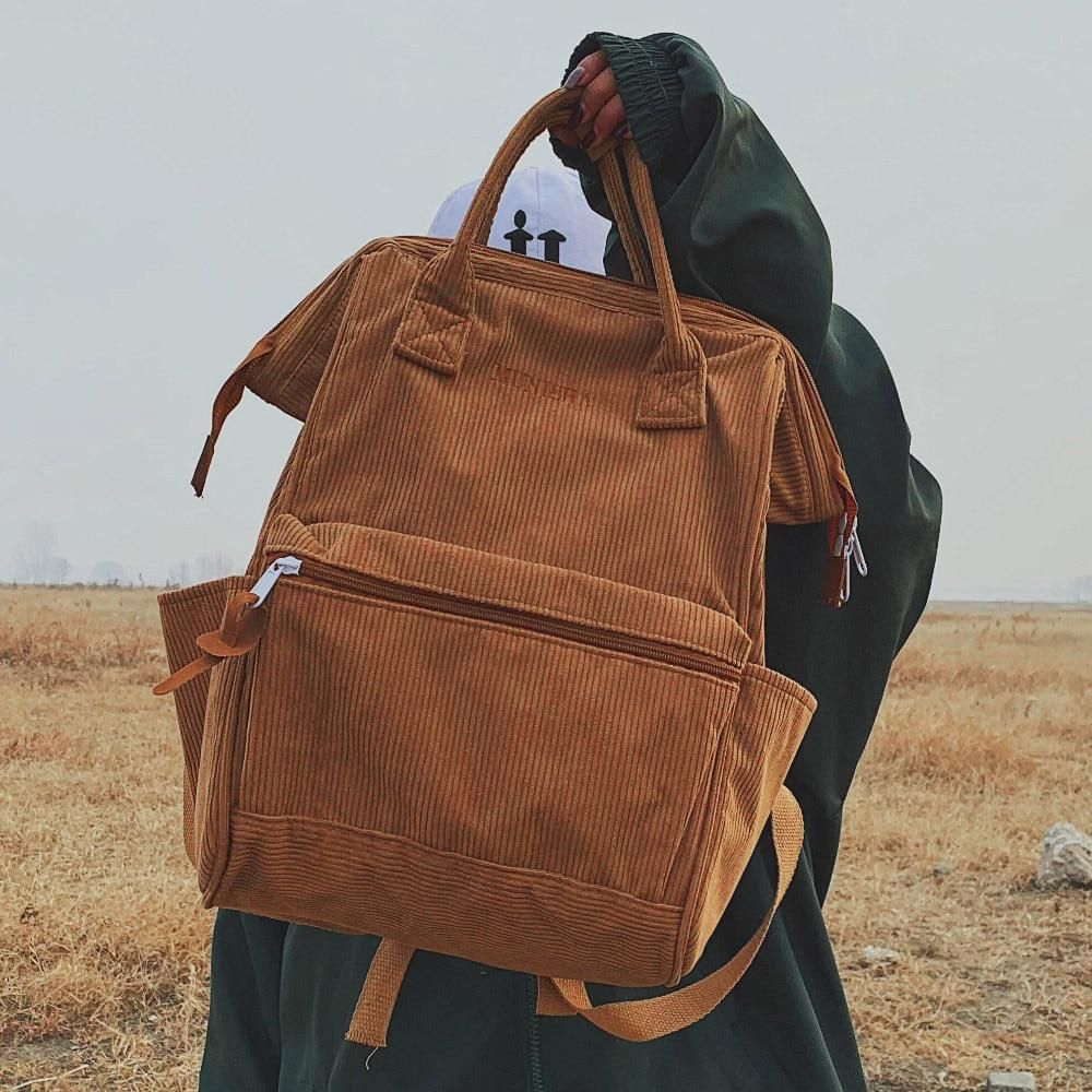 Camel Rider Soft Corduroy Backpacks #backpacks