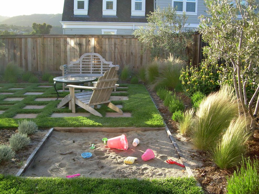 Gorgeous sandboxes in landscape traditional with Kids garden ideas