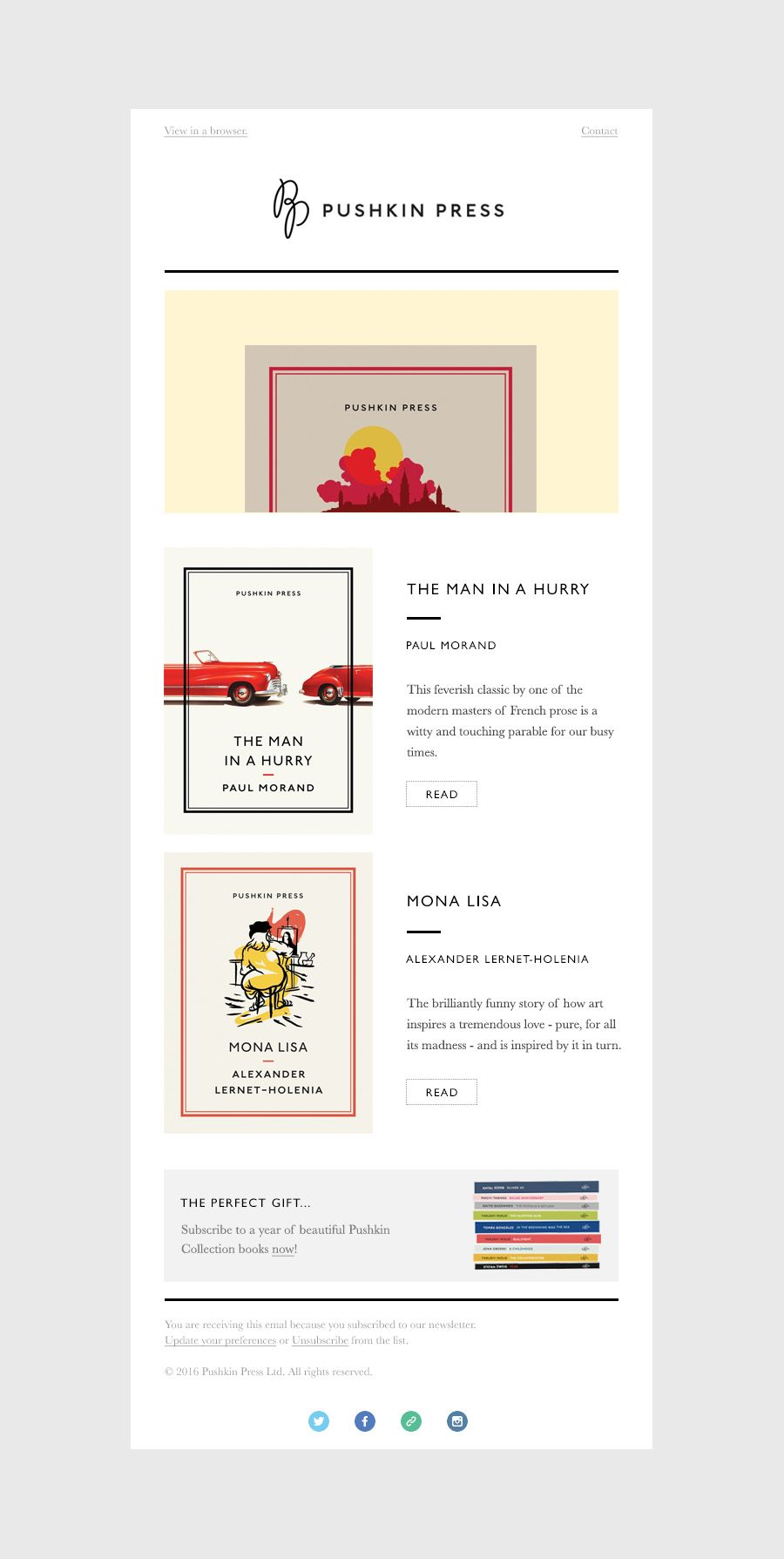 Pushkin Press Email Template On Behance Edm Pinterest Email