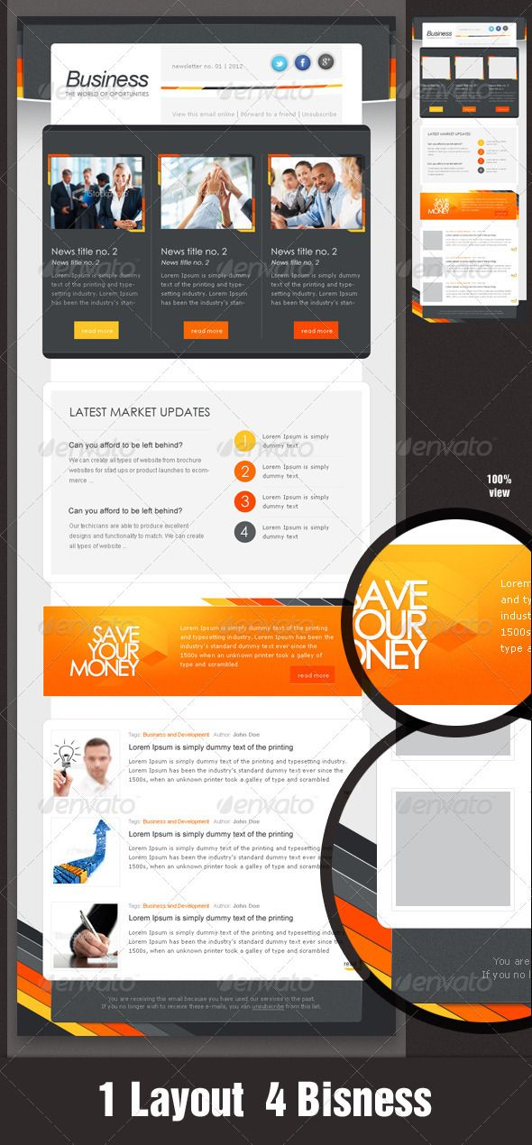 Business eNewsletter Design - Orange \ Grey Orange grey - sample business newsletter