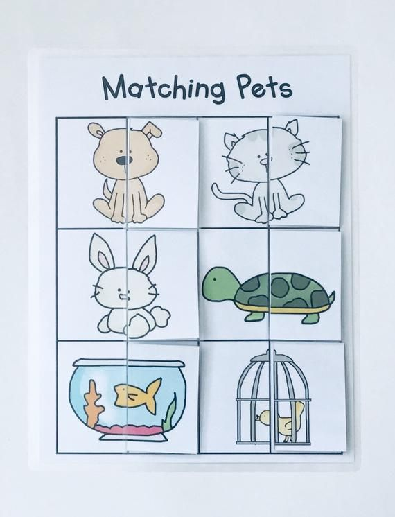 Matching Pets Game for Kids/ Learning Game-Educational Animal | Etsy