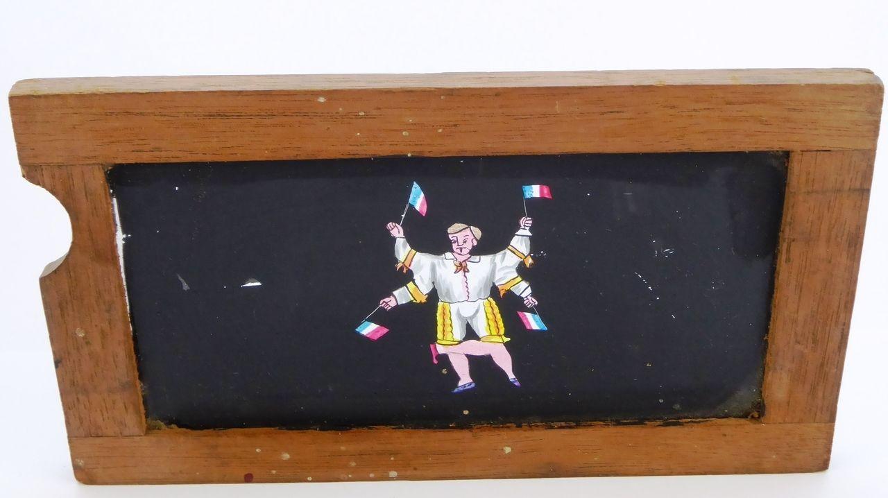 Mid 1800s Hand Painted Glass Magic Slide in Cedar Frame Man Waving ...