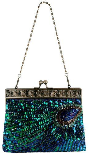 EVEOUT Womens Vintage Clutch Teal Peacock Antique Beaded Sequin Evening Handbag Turquoise Eye Catching Fashion Designer Elegant Purse For Ladies Wedding Bridal Party