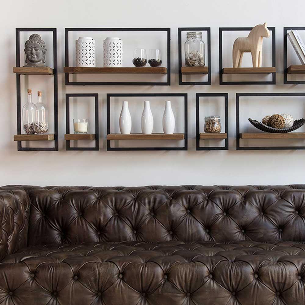 etag re murale bois massif et m tal teck et fer recycl s. Black Bedroom Furniture Sets. Home Design Ideas