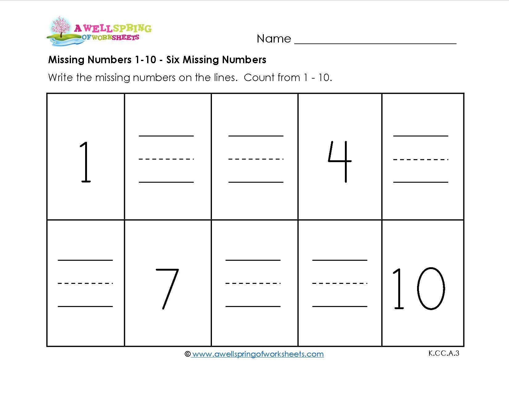 Printable Math Worksheets Missing Numbers 6 In