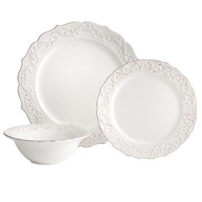 Antique Scroll 18-Piece White Dinnerware Set | Pinterest ...
