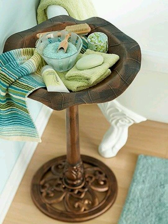 Bird bath next to the people bath to hold your bathing supplies | On ...