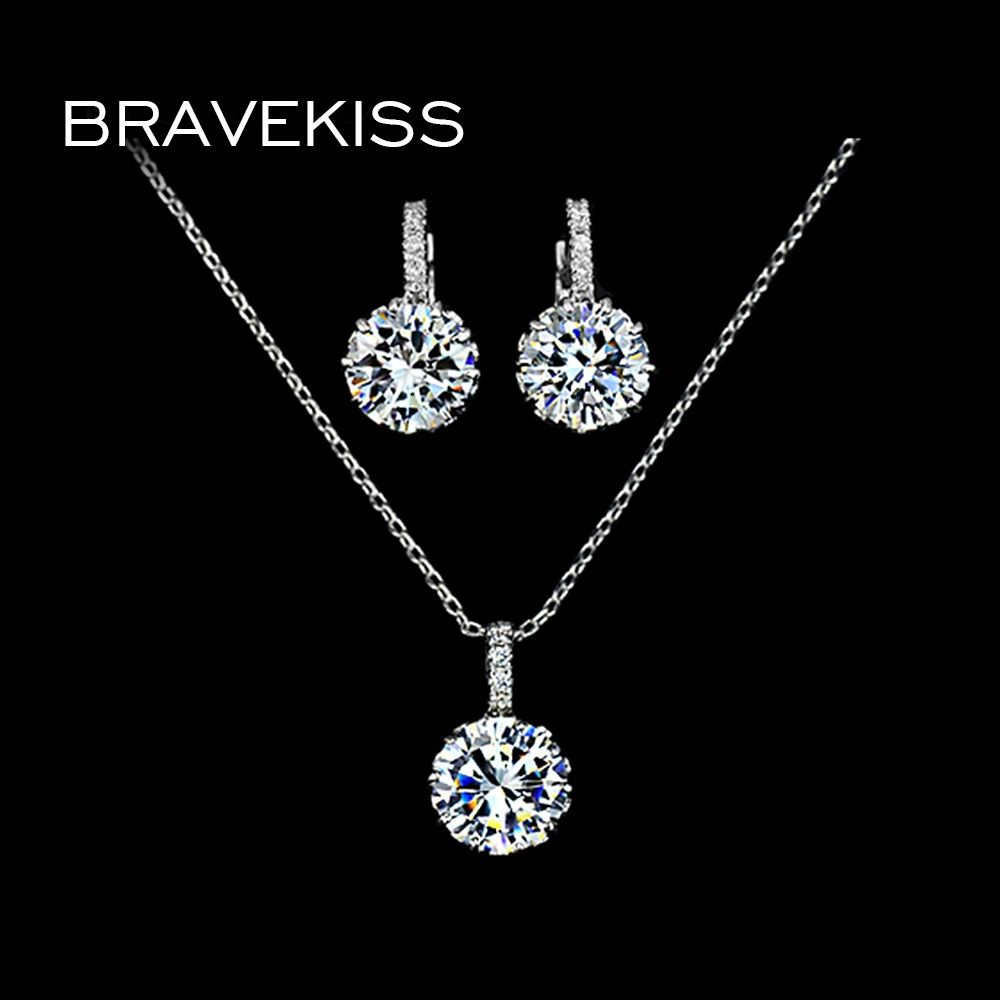 Bravekiss crystal necklace earring sets for women jewelry set round