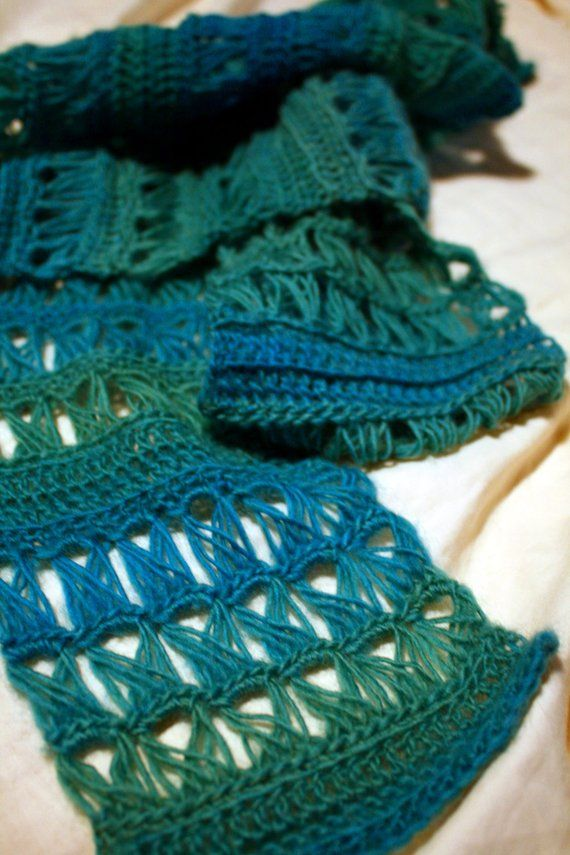 Crochet Pattern Easy Broomstick Lace Scarf Emerald Isle