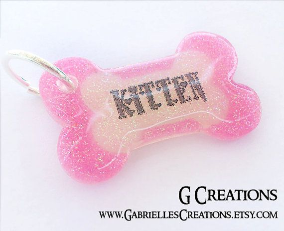 Cute Glitter Bone Dog Tag in all colors - Male dog Personalized Custom Handmade Pet ID - Resin Girlie Colorful Pink - Dog Collar Accessory