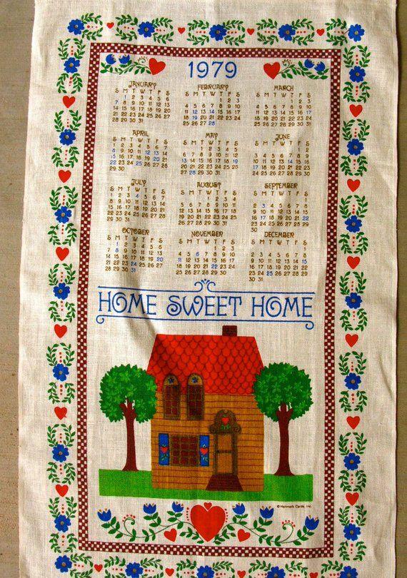 Hallmark 1979 Calendar Tea Towel Mint Condition Vintage Towels