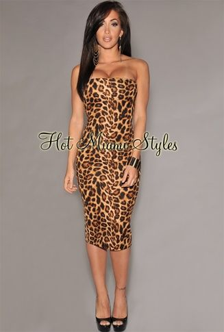 a3fa8b09aad Leopard Print Strapless Midi Dress Womens clothing clothes hot miami styles  hotmiamistyles hotmiamistyles.com sexy club wear evening clubwear cocktail  party ...