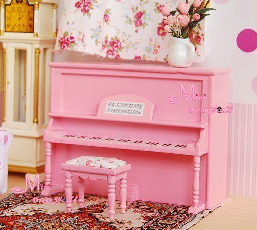1/12 Dollhouse Miniature Pink Vertical Piano & Stool Set