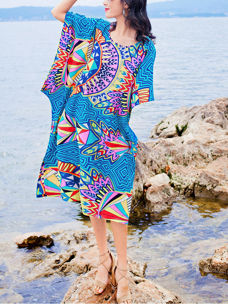 afb364b341e0 Vestido de férias impresso Bohemia vestido solto tamanho Plus in ...