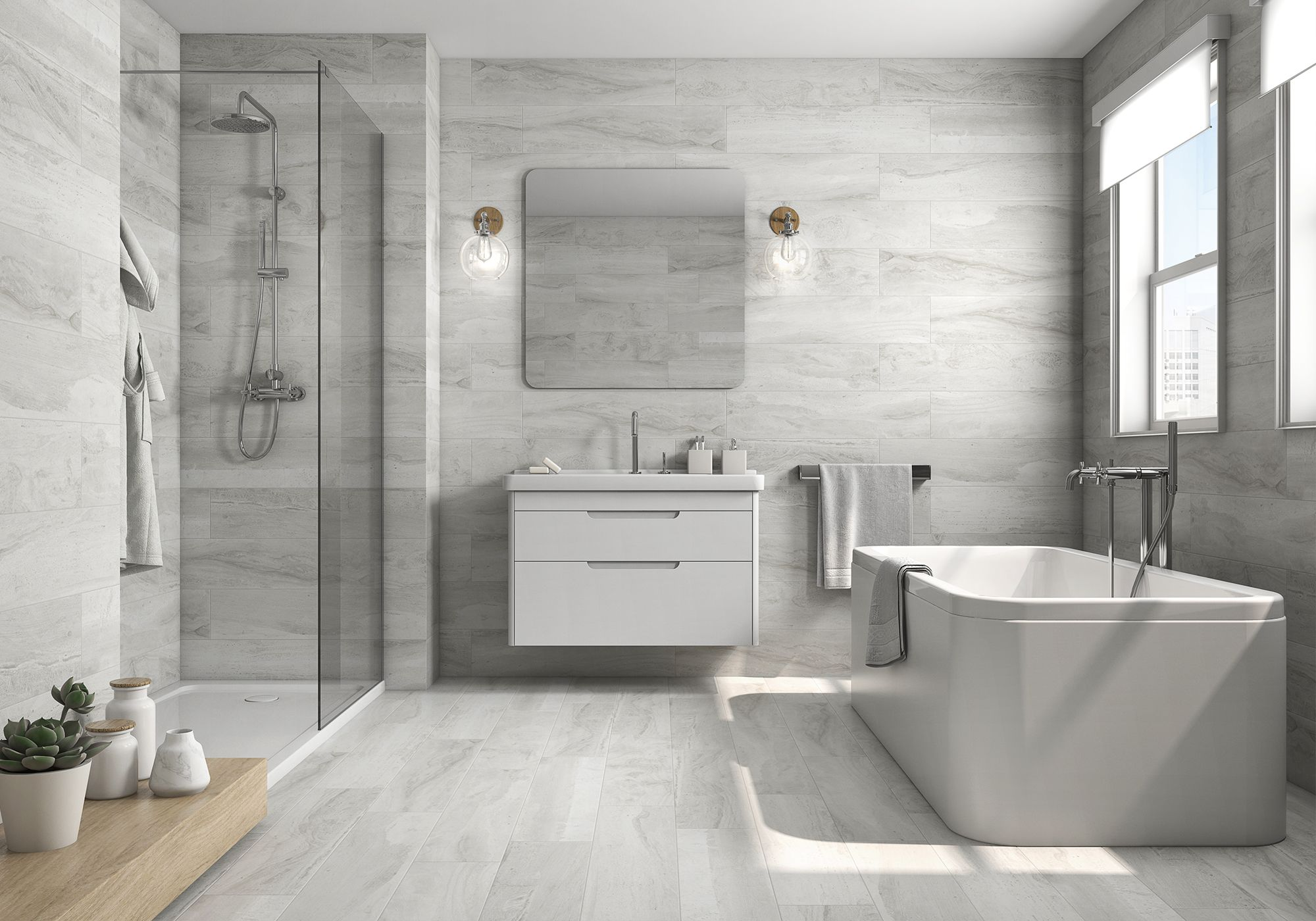 Wood Grain Porcelain Tile Bathroom Contemporary With Bathroom Floating Vanity Miami Minimalist Mirr Minimalist Bathroom Design Bathroom Wall Tile Tile Bathroom