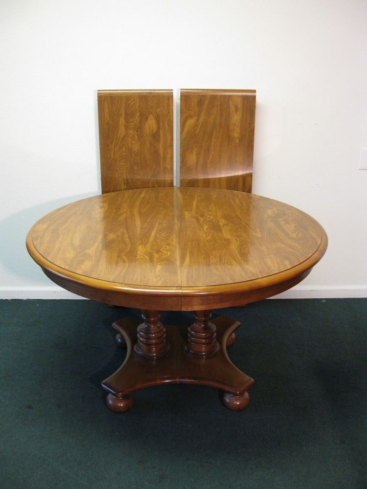 Ethan Allen Heirloom Maple Round Pedestal Dining Table - Round dining table with 2 leaves
