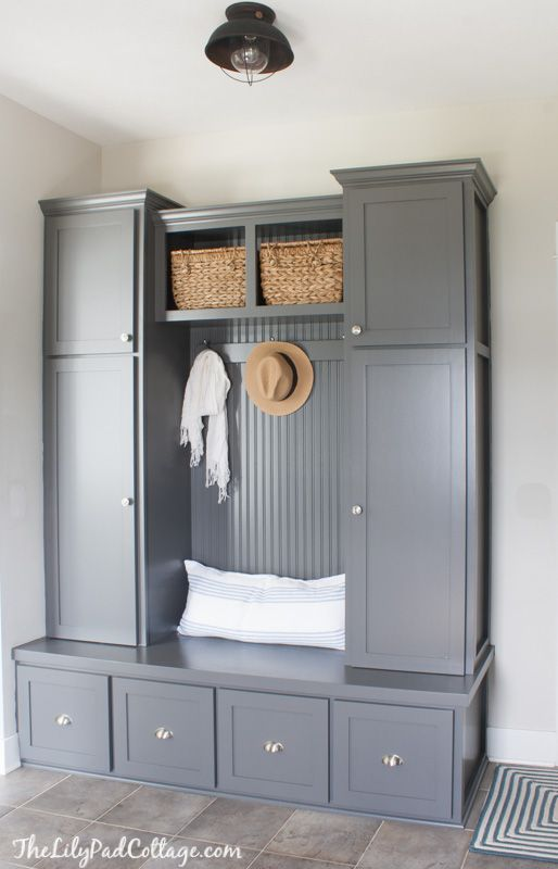 Grey Mudroom Cabinets Painted Furniture Mudroom