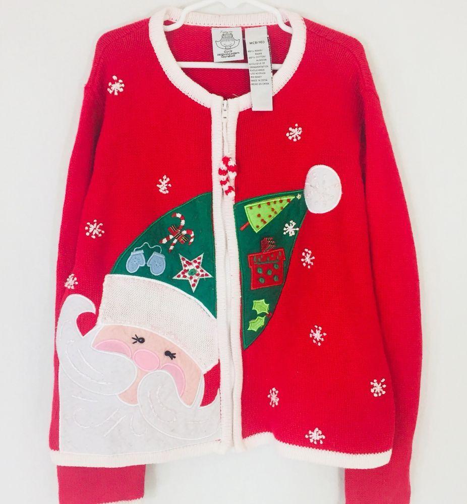 tiara girls medium 810 ugly christmas sweater zipper santa candycane pull snow - Ebay Ugly Christmas Sweater