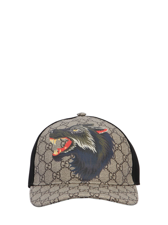 12ac6107b07 GUCCI WOLF PRINTED GG SUPREME BASEBALL HAT.  gucci