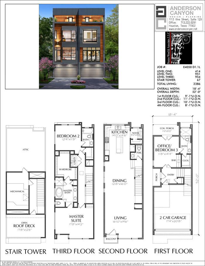 3 1 2 Story Duplex Townhouse Plan E4050 Townhouse Designs Narrow House Plans Duplex House Plans