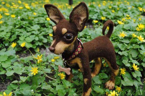 Benutzerdefinierte Nadel gefilzt Hund Skulptur Haustier Porträt ...