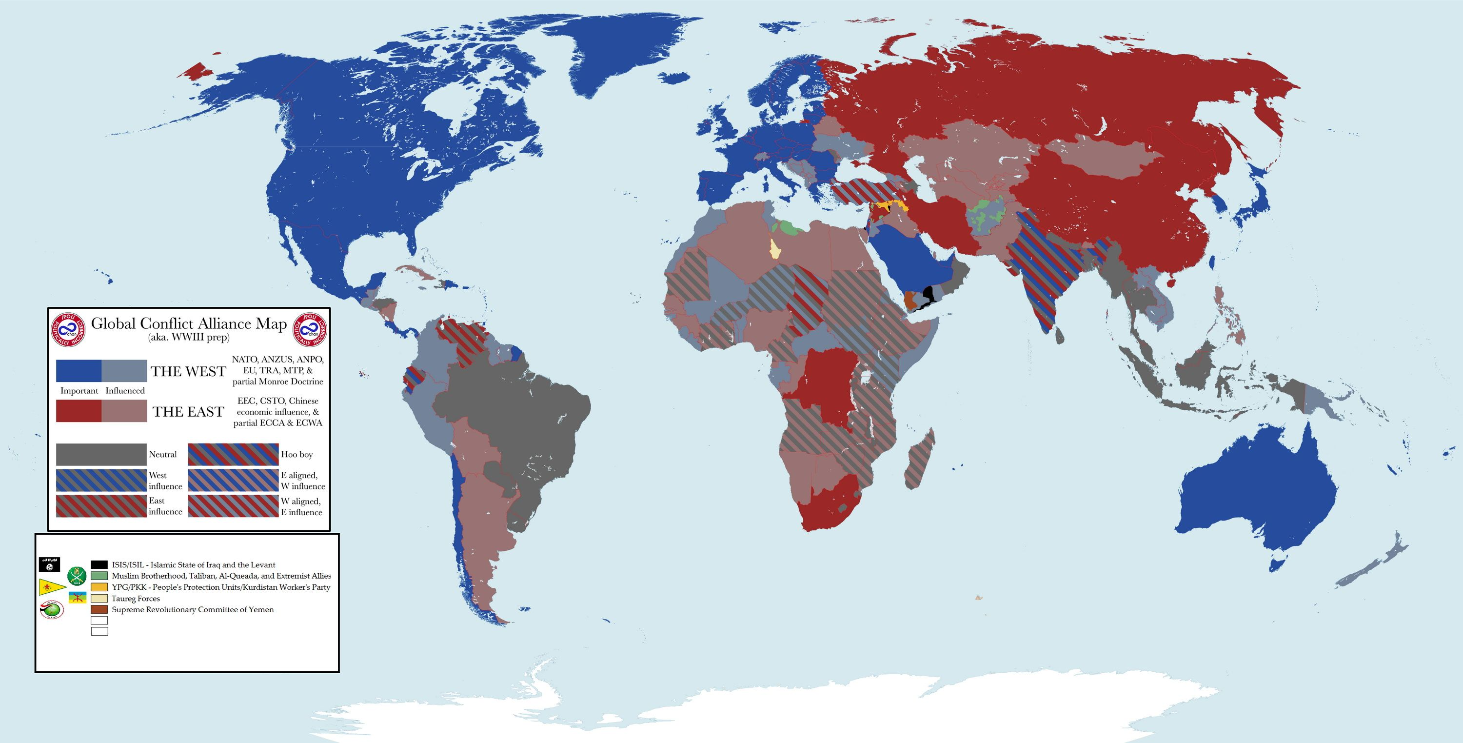 Current military alliances in the world   Politics   Map ...