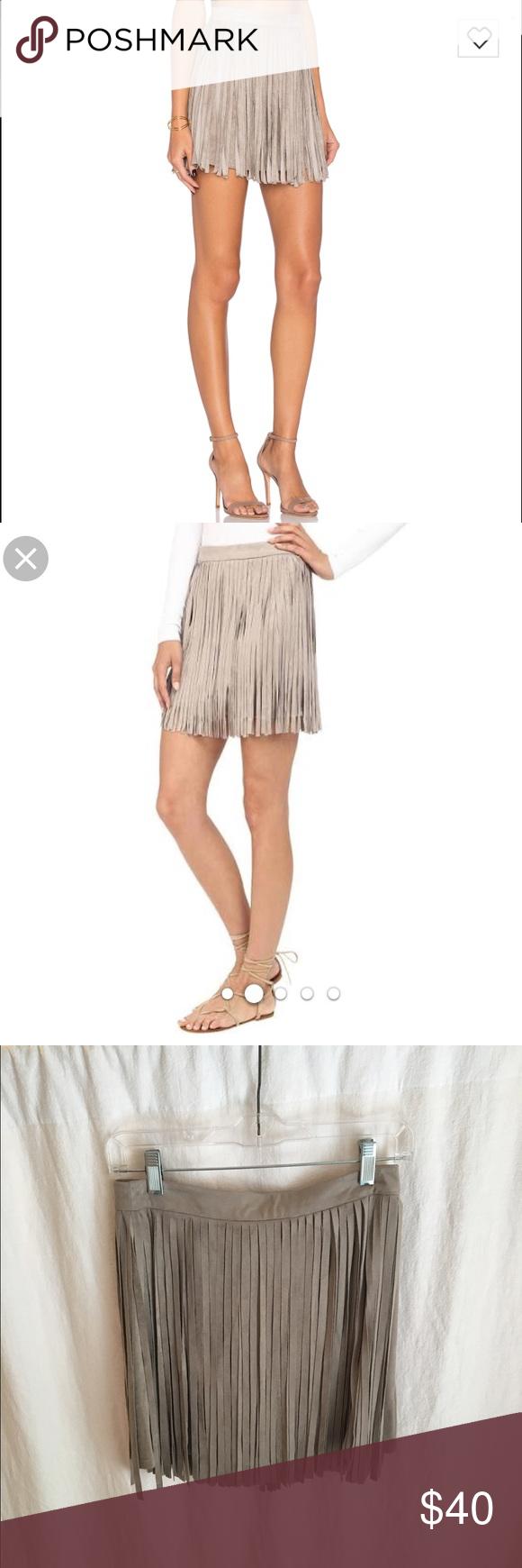 BB Dakota Suede Fringe Skirt Faux suede fringe skirt in Toffee BB Dakota Skirts