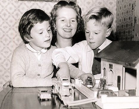 Margaret Thatcher. The Iron Lady is photographed here with her two children Carol and Mark.