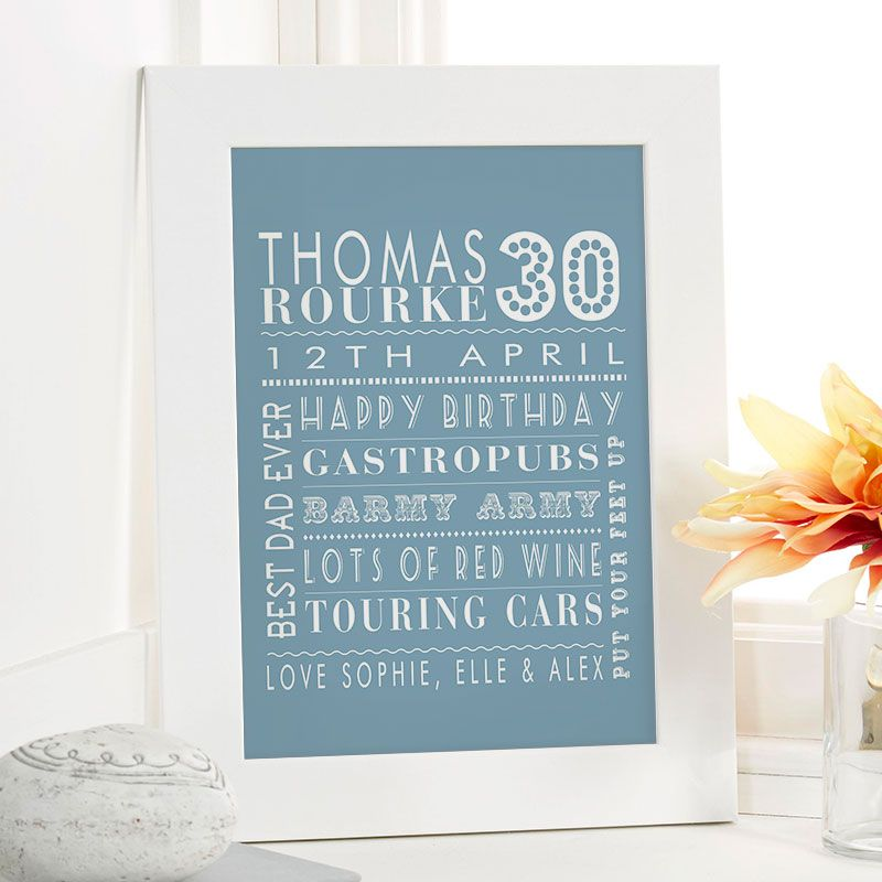 30th birthday gift for him of personalised age word art