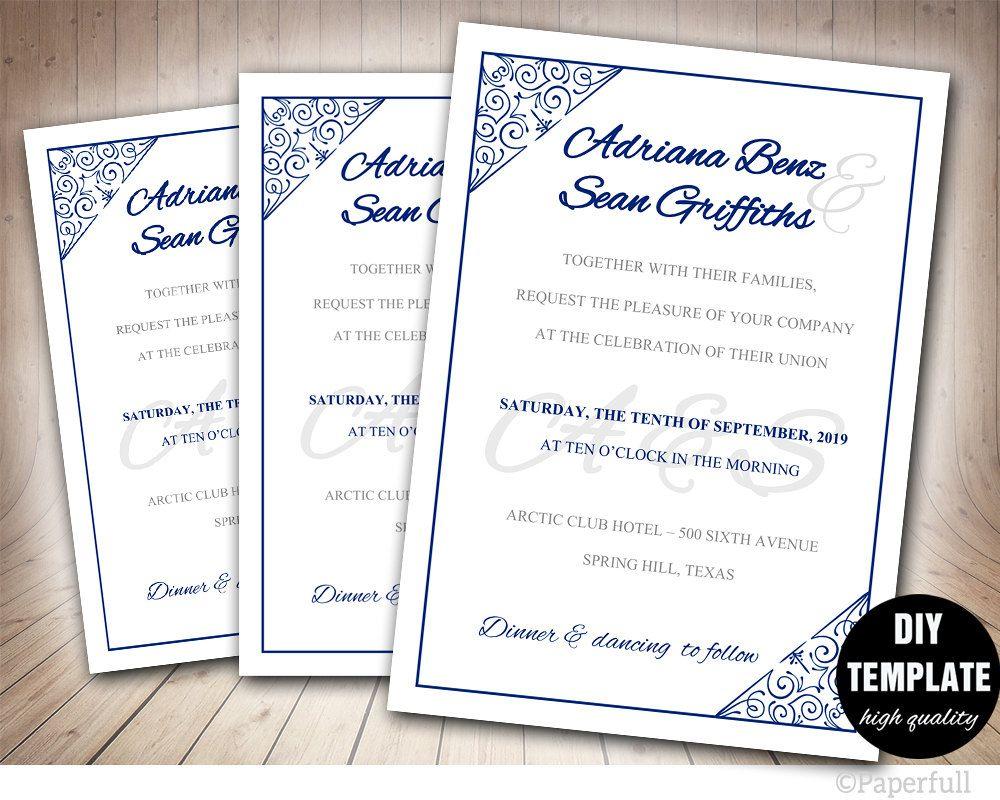 Navy wedding invitation templatediy blue wedding invitation