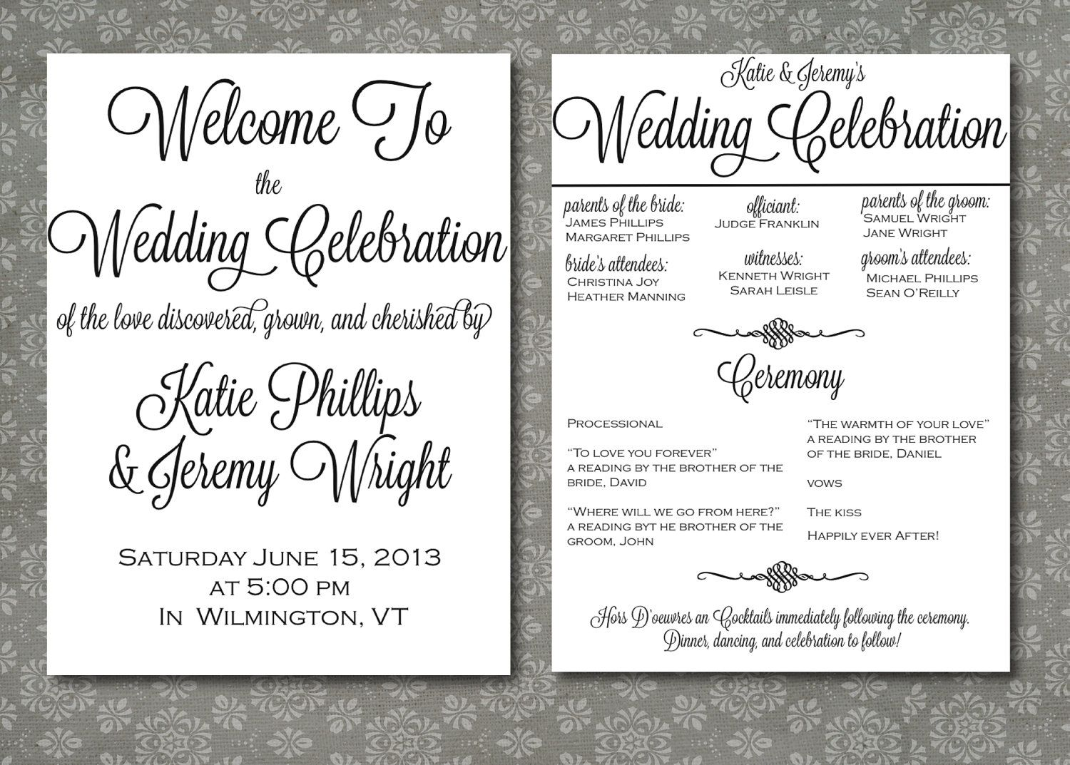 Printed Wedding Program Script Elegance by WrittenInDetail | wedding ...