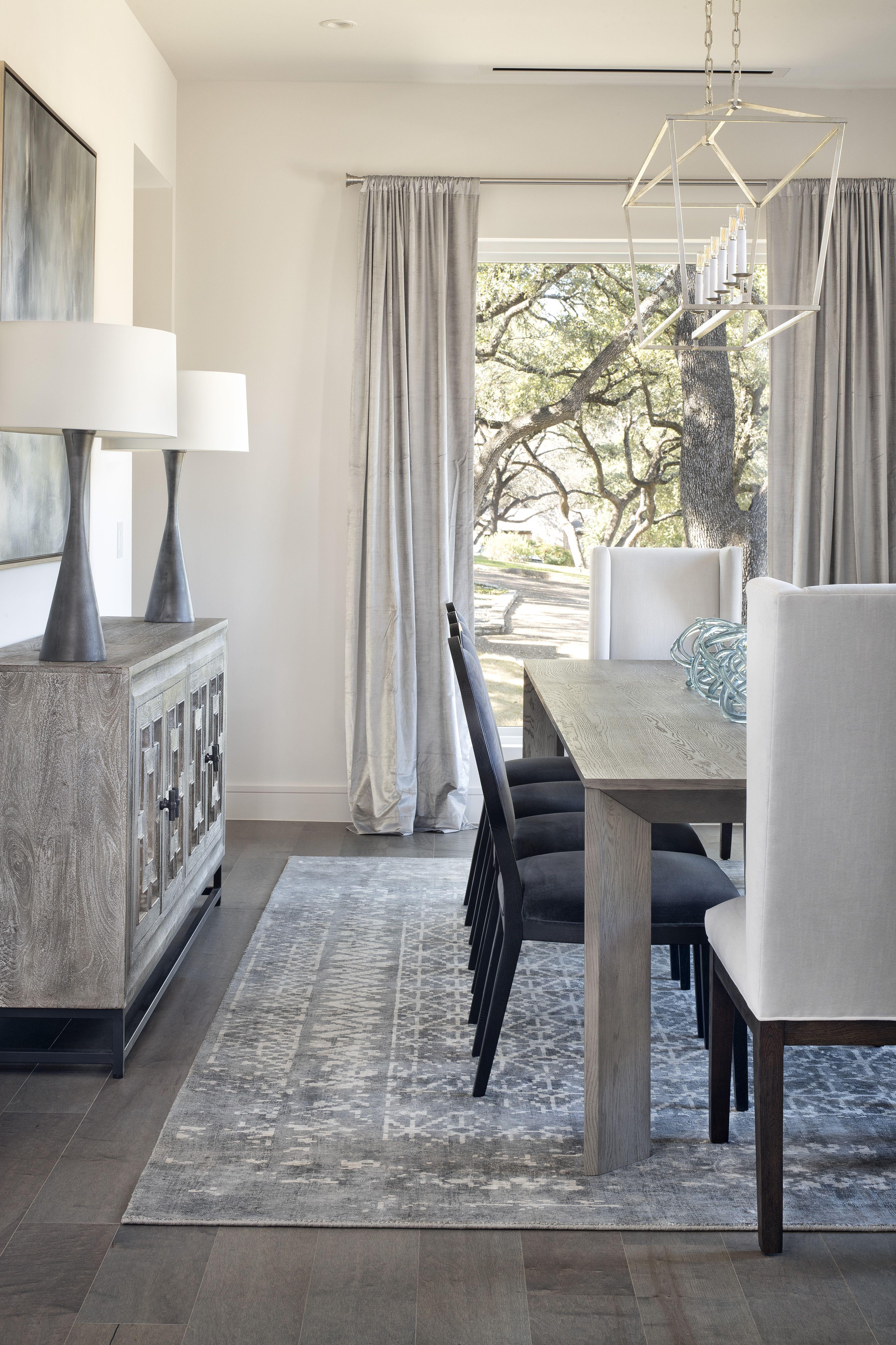 A Modern Farmhouse Family Home In Austin Texas Wood Floor Dining Room Grey Dining Room Dining Room Floor