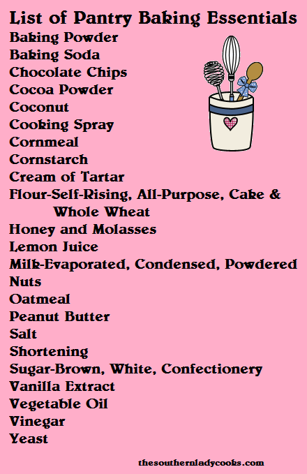 A List Of Basic Baking Items For The Pantry Spice List And