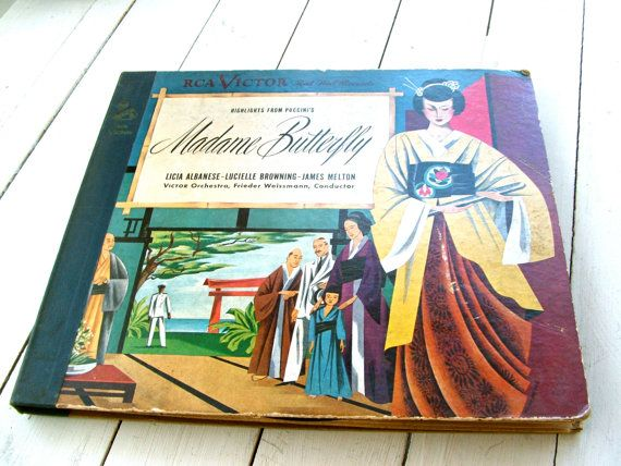 Vintage Madame Butterfly Record Cover Art by lookonmytreasures