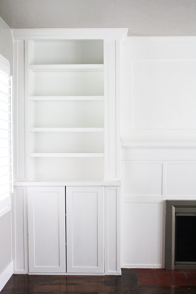 ikea hack built ins use inexspensive ikea cabinet and billy bookcase to make custom cabinets. Black Bedroom Furniture Sets. Home Design Ideas