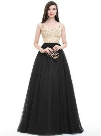 Ball Gown Sweetheart Floor Length Tulle Prom Dress With Beading Sequins