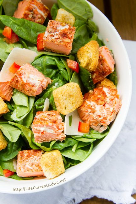 This Salmon Caesar Salad is the perfect way to use leftover cedar plank grilled…