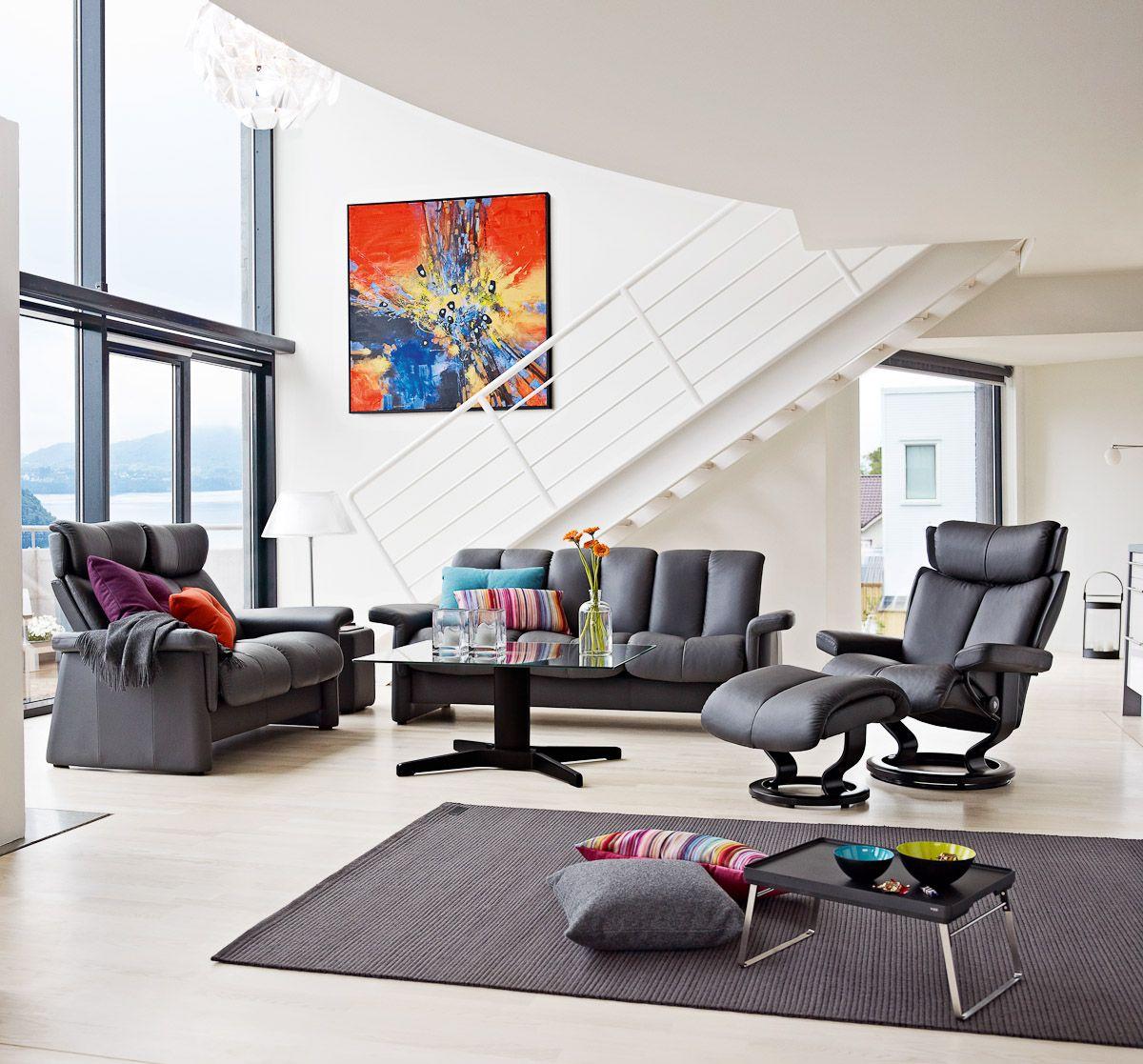 stressless legend living in leather pinterest. Black Bedroom Furniture Sets. Home Design Ideas
