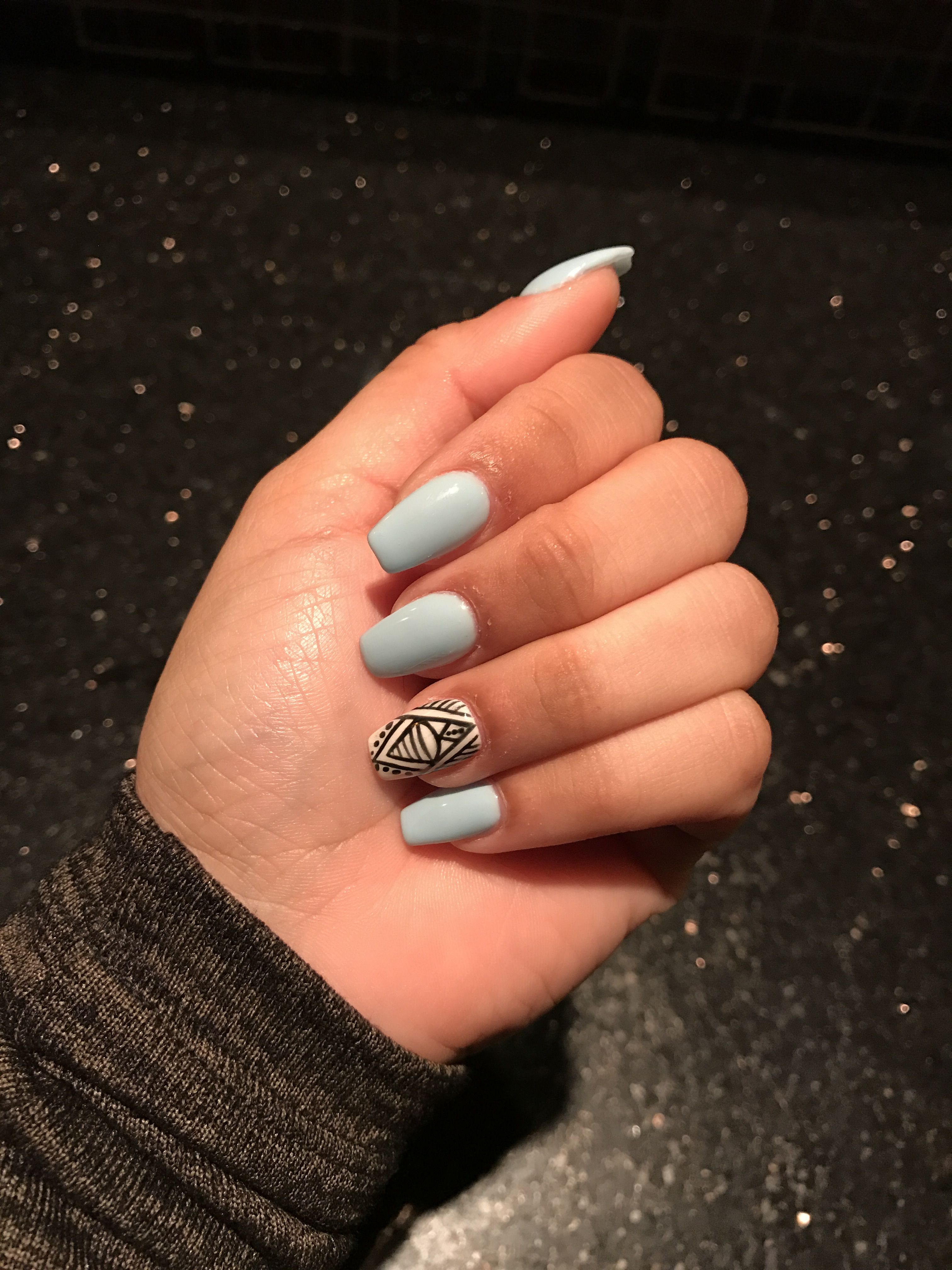 Sleek Nails and Spa in Annapolis Maryland. Done by Hannah. Baby blue ...