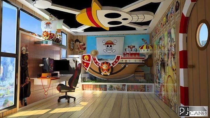 One Piece Room With Images Otaku Room One Piece Anime Gaming